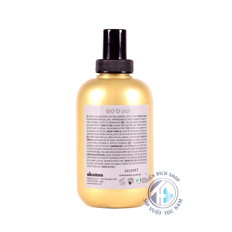 Davines Sea Salt Spray 250ml chất lượng của davines ý