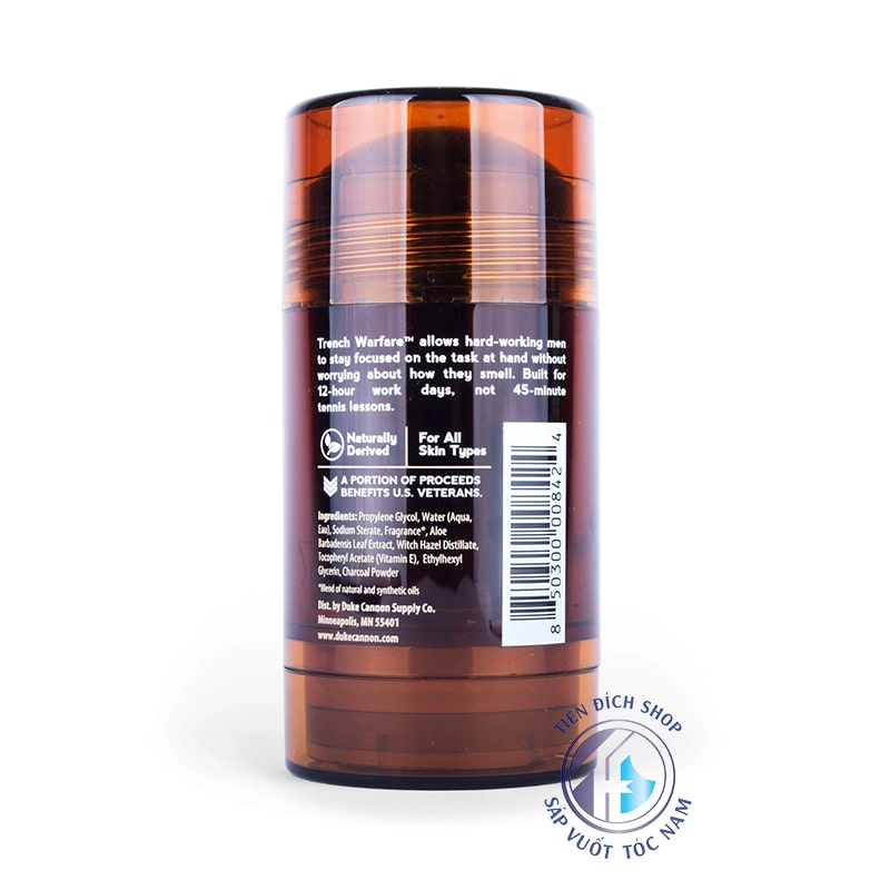 Lăn khử mùi hương Duke Cannon Natural Charcoal Deodorant Trench Warfare Sandalwood Amber